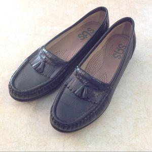SAS black Kiltie Fringe Loafers Tassels 7.5M Flats